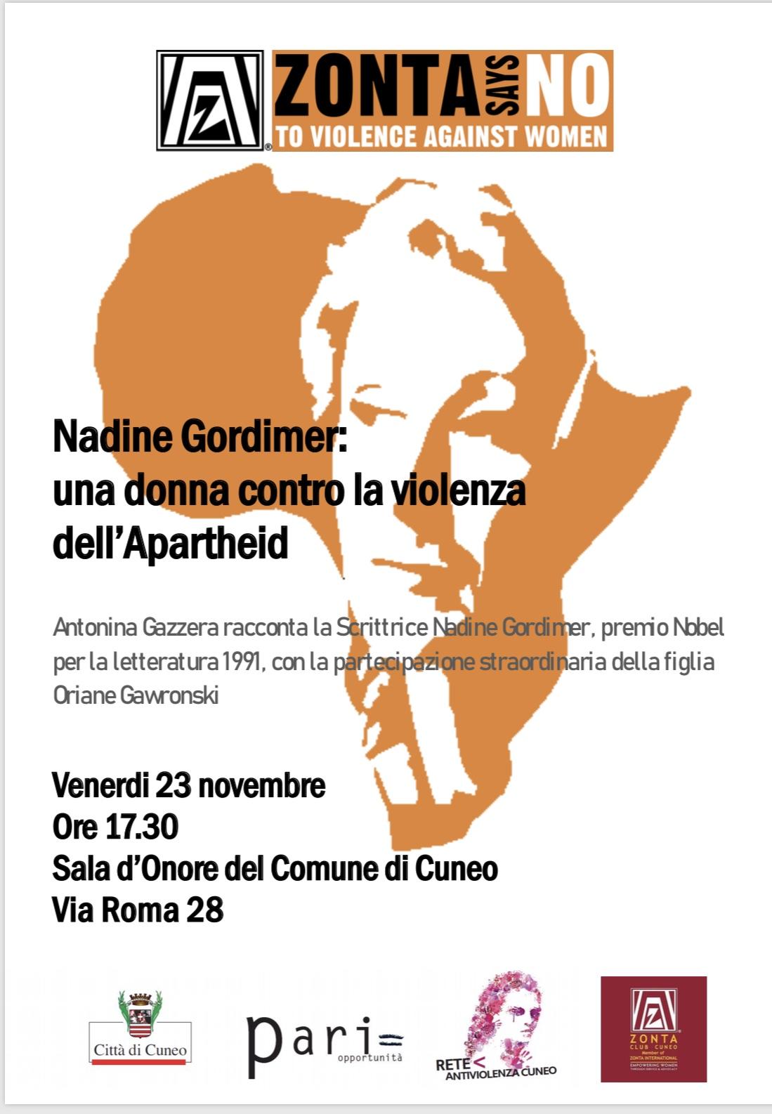 23 Novembre 2018, conferenza su Nadine Gordimer: una donna contro la violenza dell'apartheid