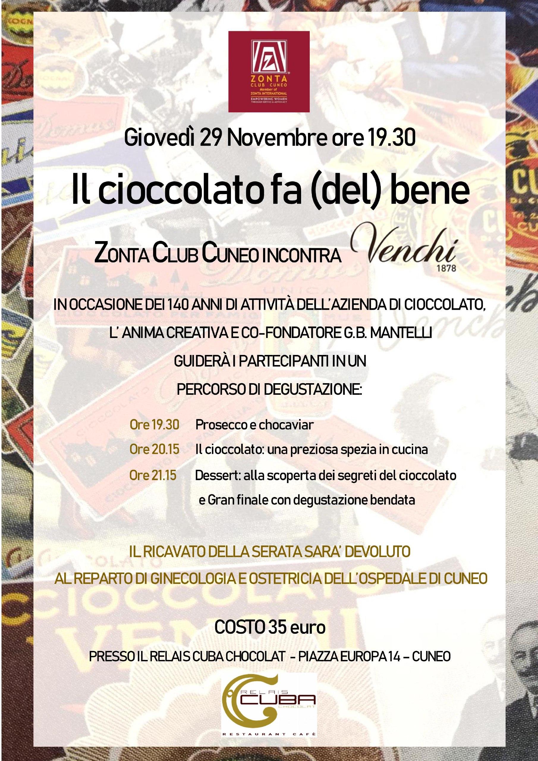 Evento benefico per raccolta fondi, in collaborazione con la nota azienda di cioccolato Venchi